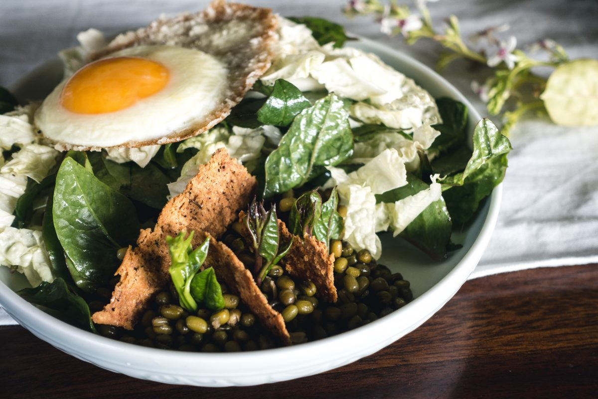 Healthy vegetarian salad with egg