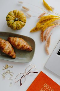 Planning New Year with croissants