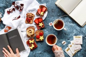 Time for book, journaling, tea and sweet toasts
