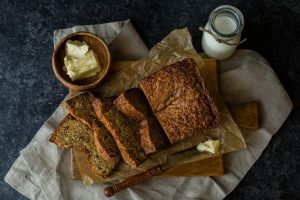 Banana bread with butter and milk