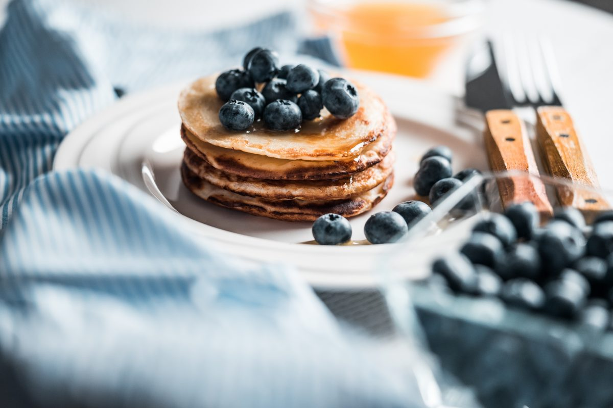 Breakfast pancakes with blueberries