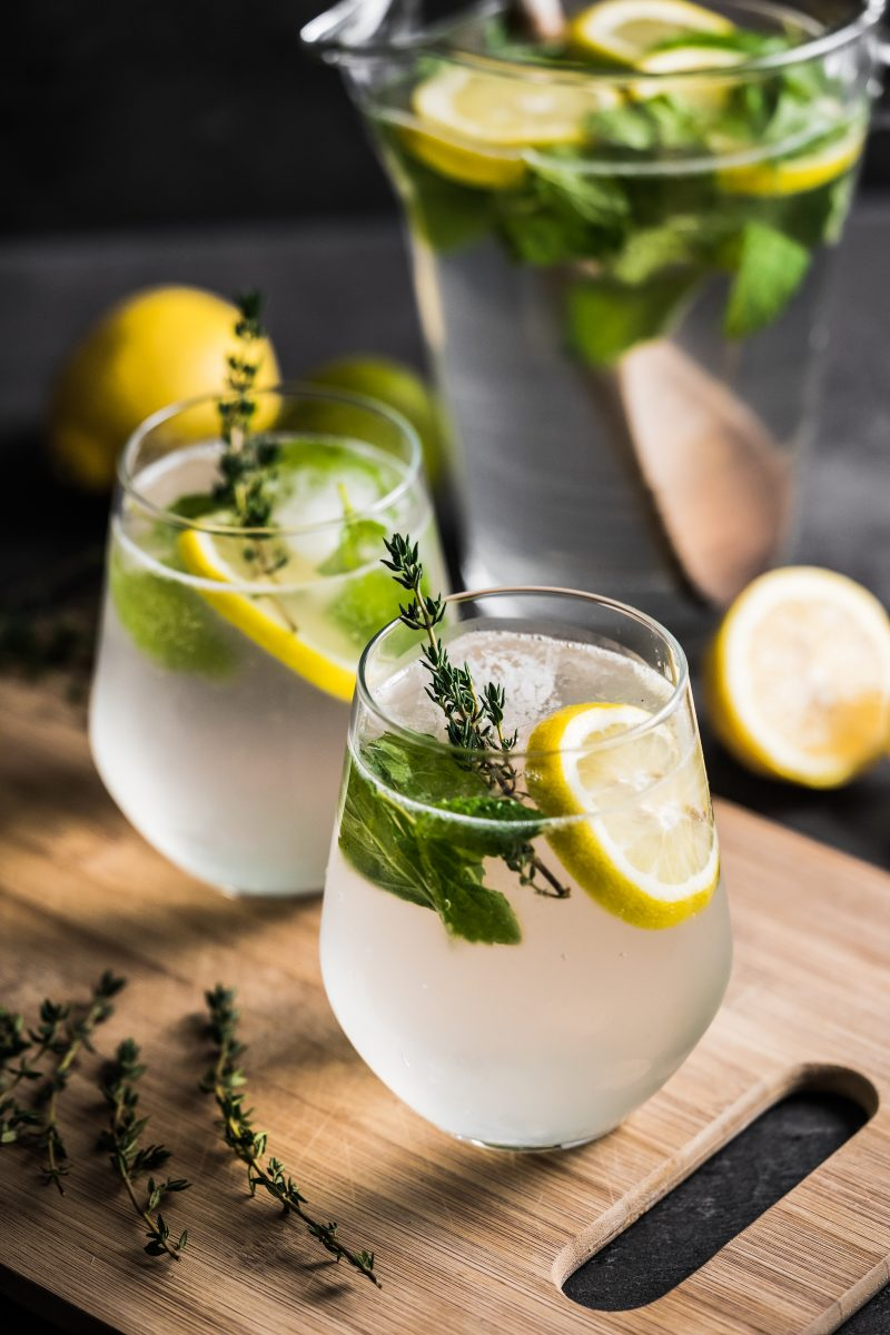 Fresh lemonade with herbs