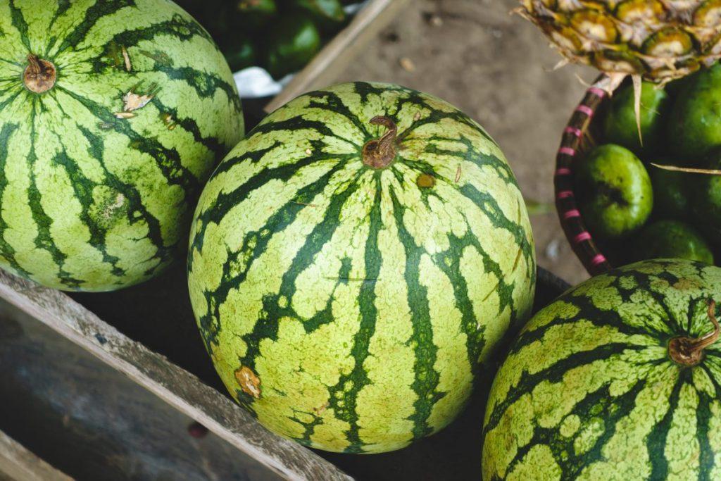 Fresh watermelon at a market