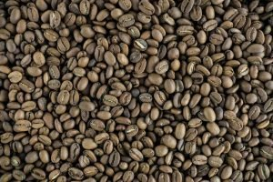 Full frame of lightly roasted coffee beans