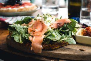 Healthy smoked salmon sandwich