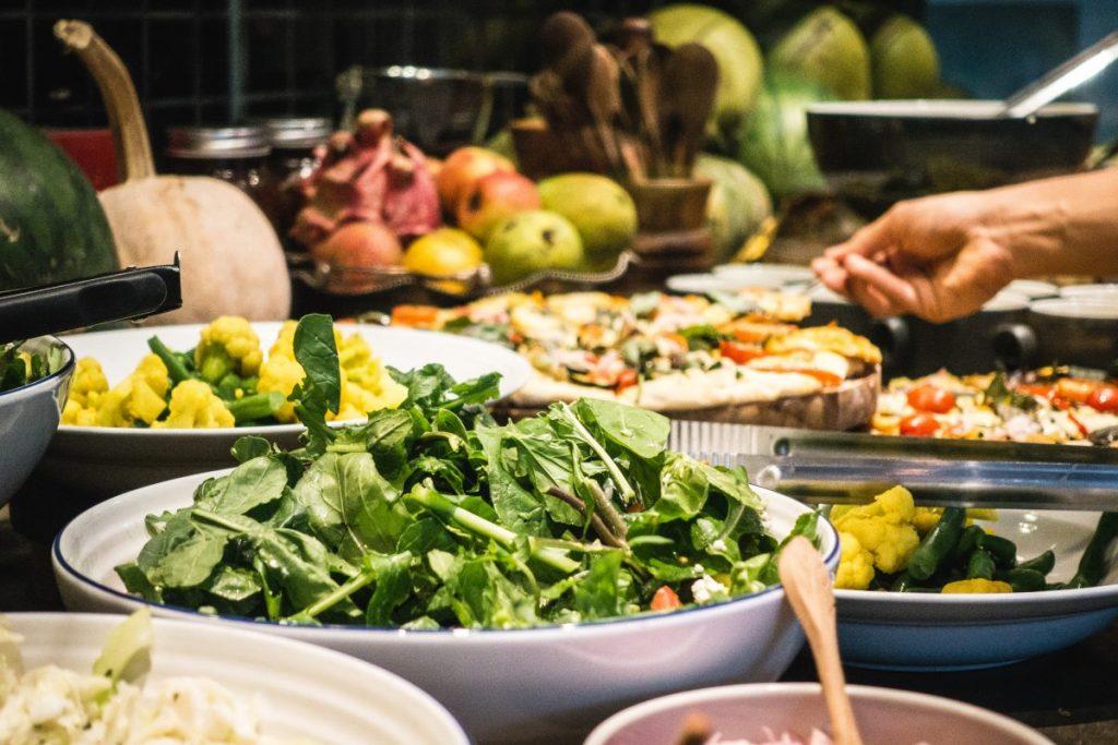 Healthy vegetarian salad buffet