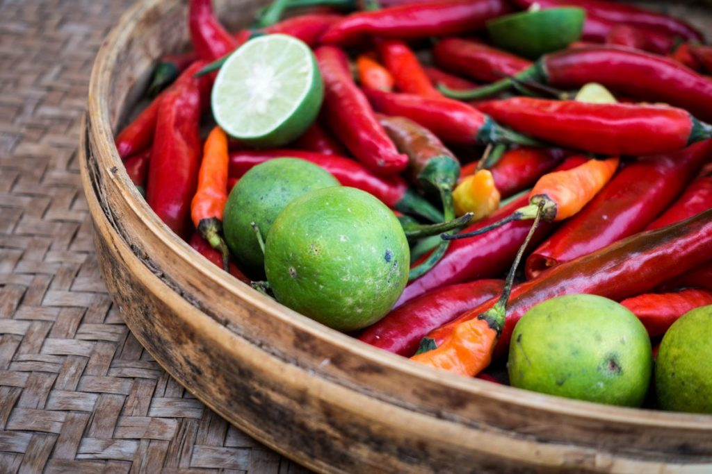 Limes and chili peppers