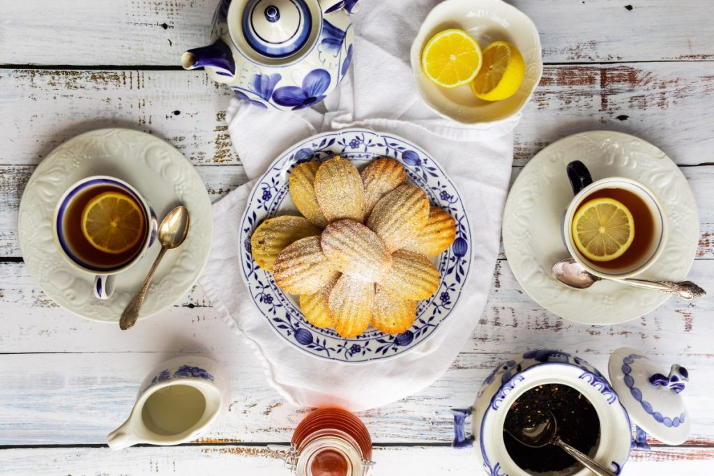 Tea time with Madeleine biscuits