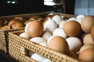Fresh eggs in a grocery store
