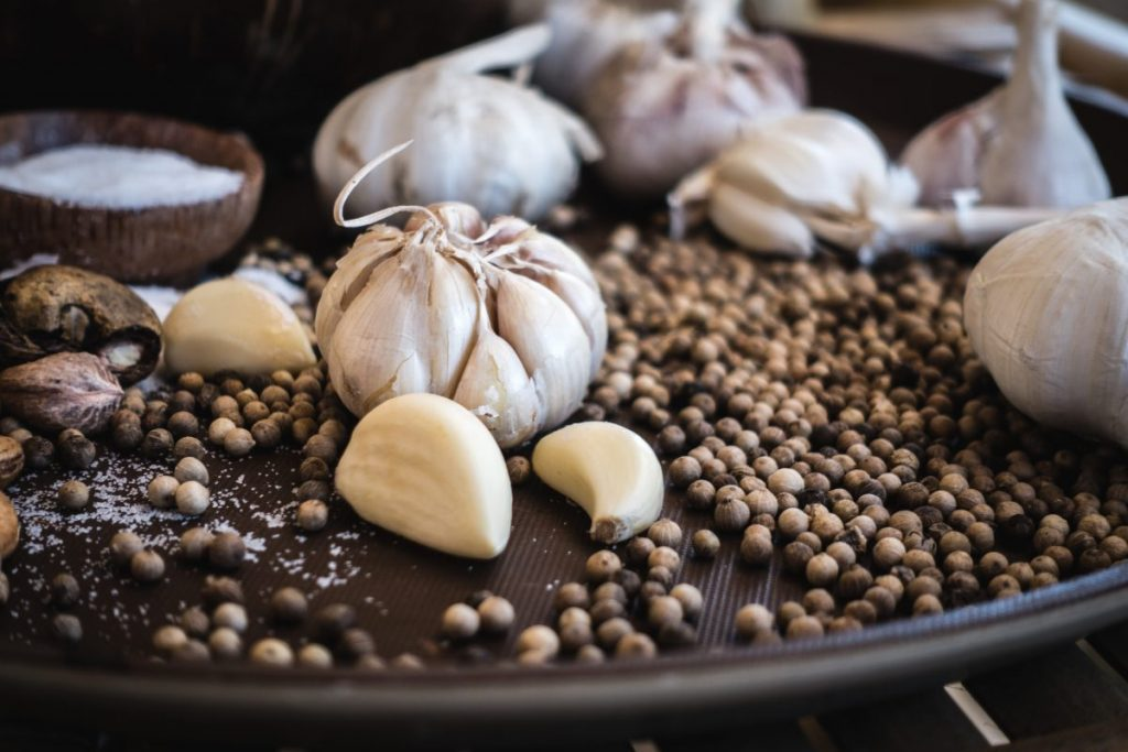 Garlic and pepper close up
