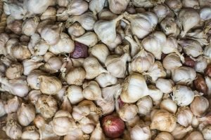 Garlic in a grocery store