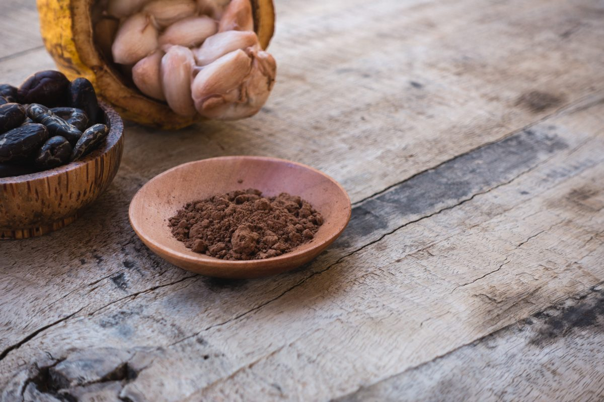 Freshly made cocoa powder
