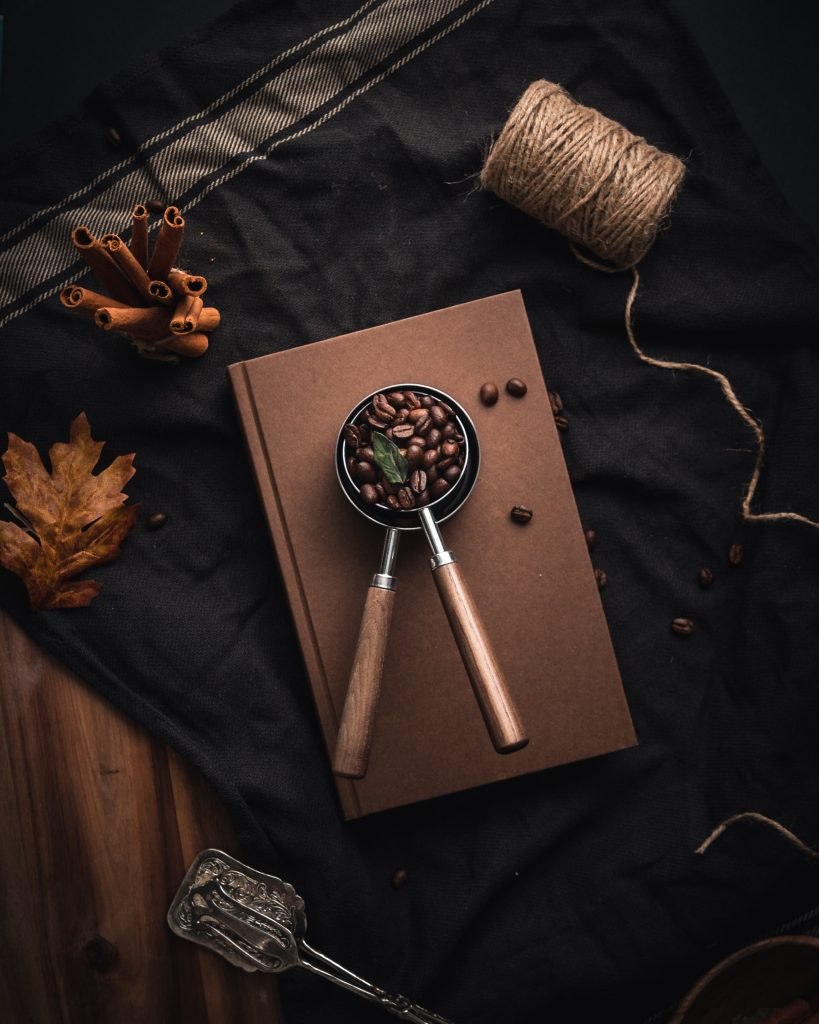 Coffee beans on a book