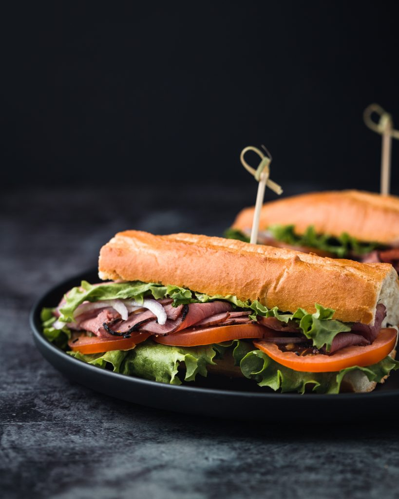 Sub sandwiches with a ham