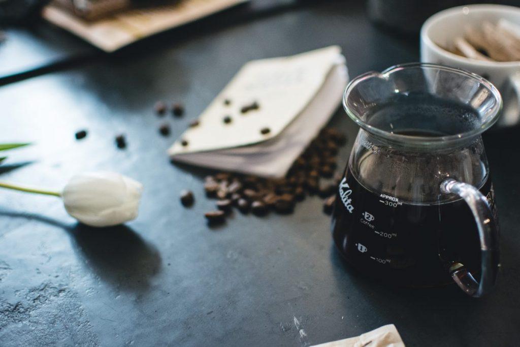 Freshly brewed black coffee