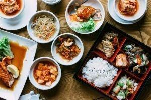 Beautiful vibrant shot of traditional Korean meals