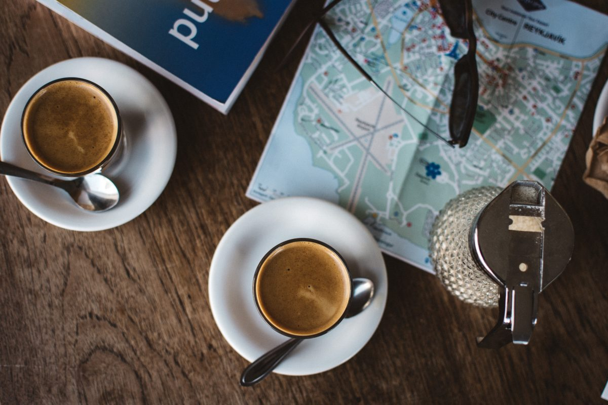 Planning a trip with coffee in a coffeeshop