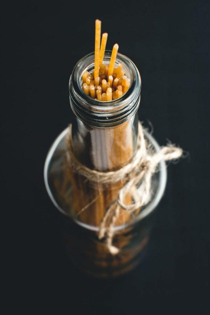 Spaghetti in a glass bottle