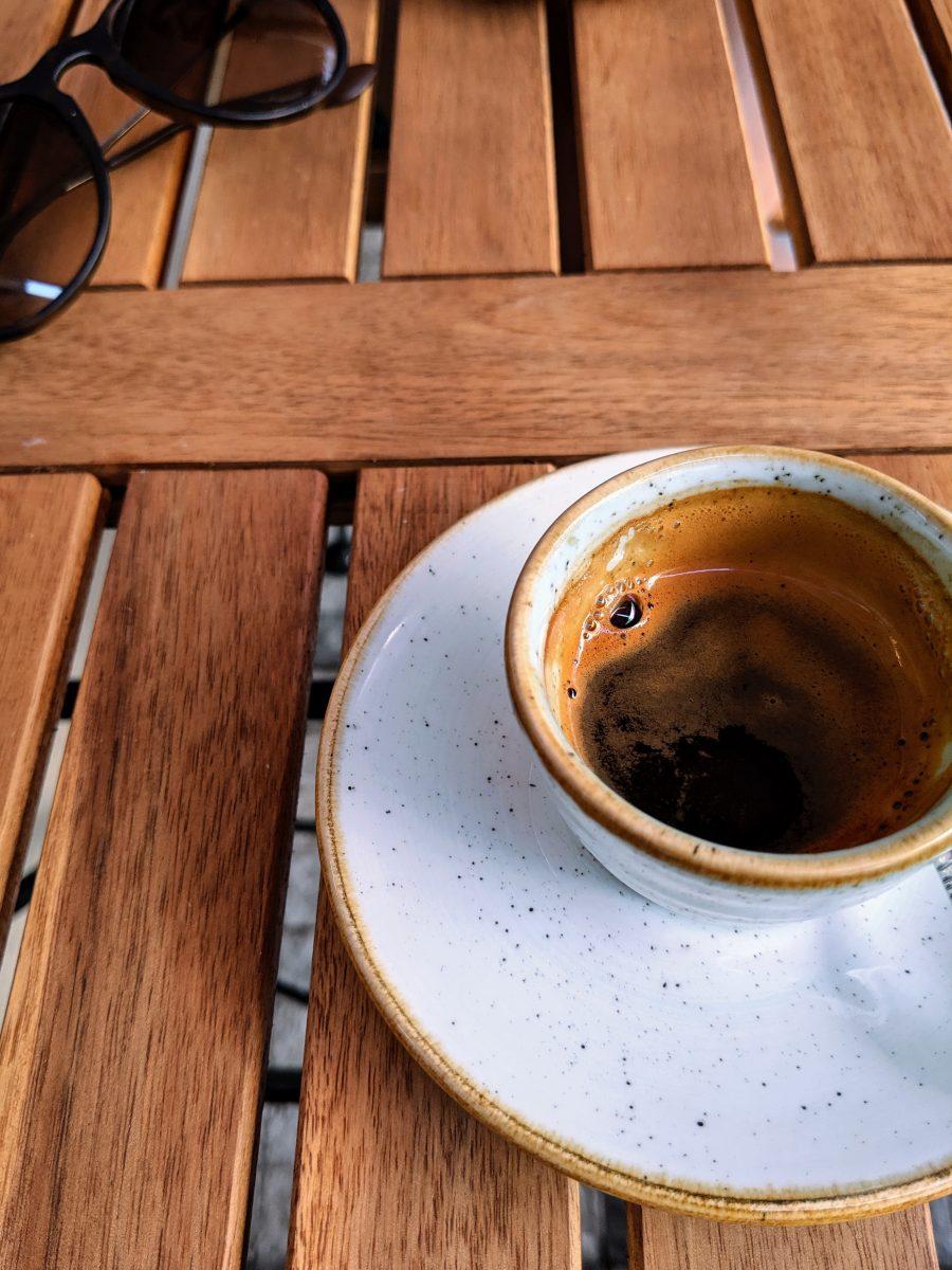 Espresso with sun glasses