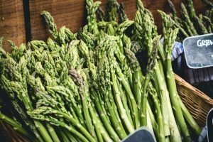 Fresh green asparagus on a market