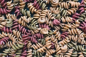 Full frame of colorful pasta fusilli