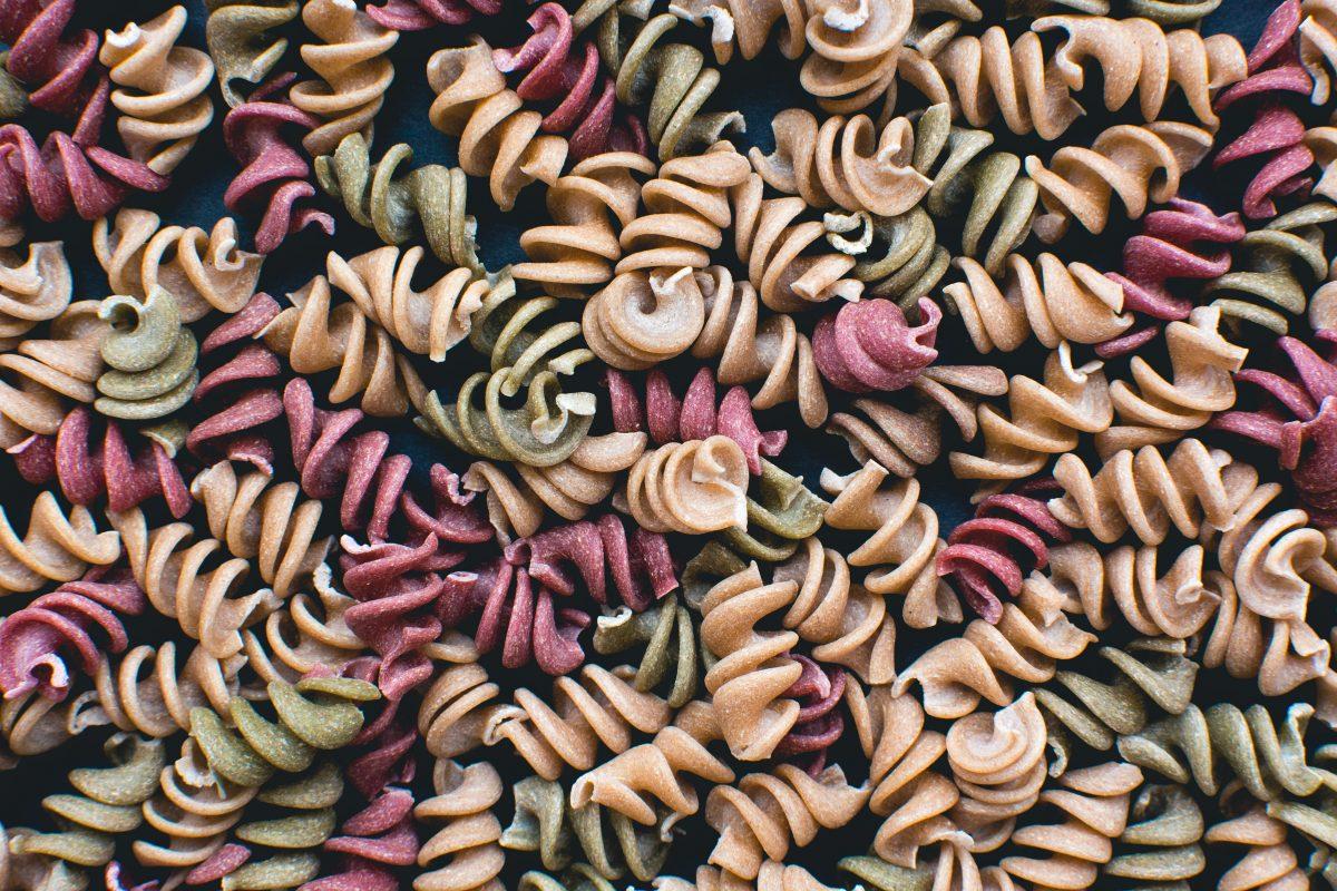 Full frame of colorful pasta fusilli