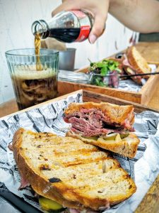 Toasted beef pastrami with soda