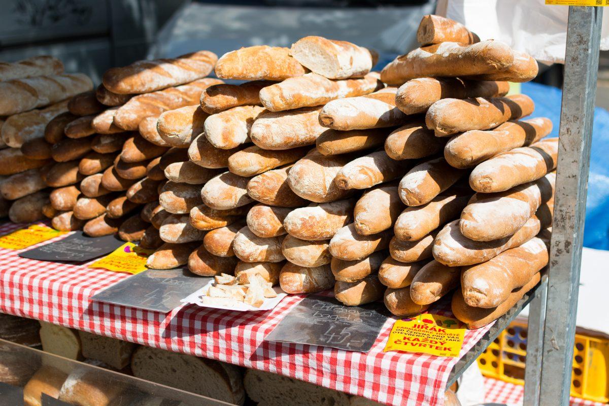 Fresh sourdough bread on farmers market