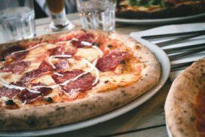 Pizza salami close up