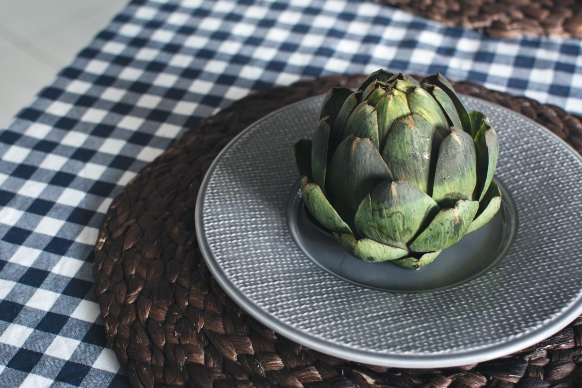 Fresh artichoke in a kitchen