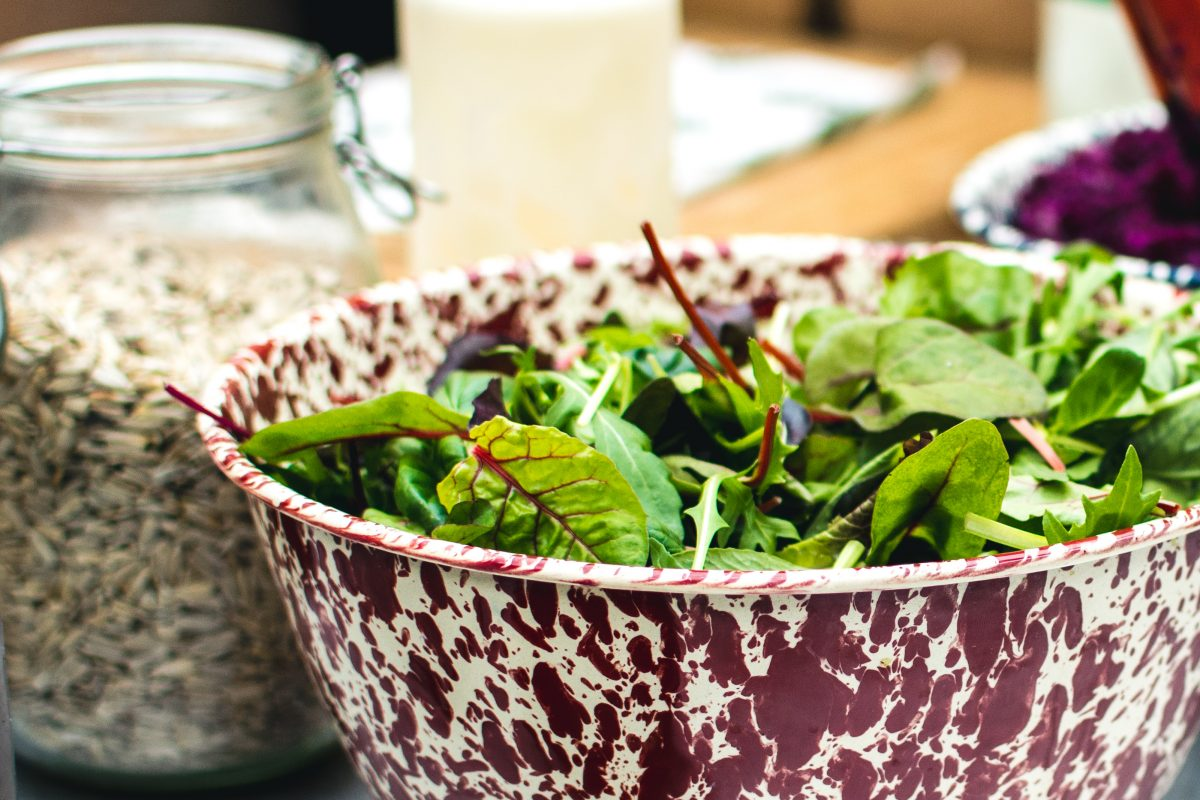 Fresh salad leaves in a bowl