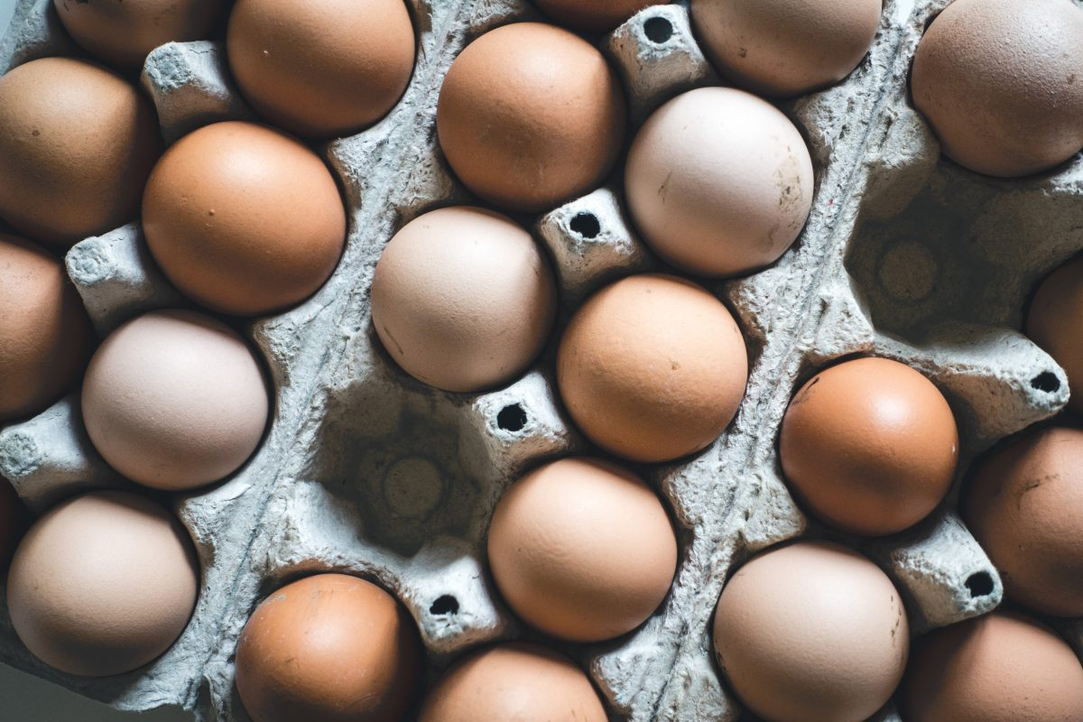 Crate of eggs from above