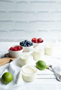 Lime dessert with fresh fruits