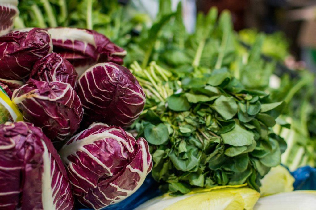 Radicchio and greens at a market