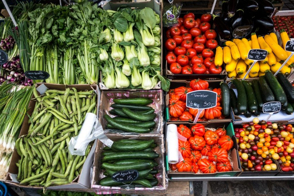 Variety of fresh vegetables at a market