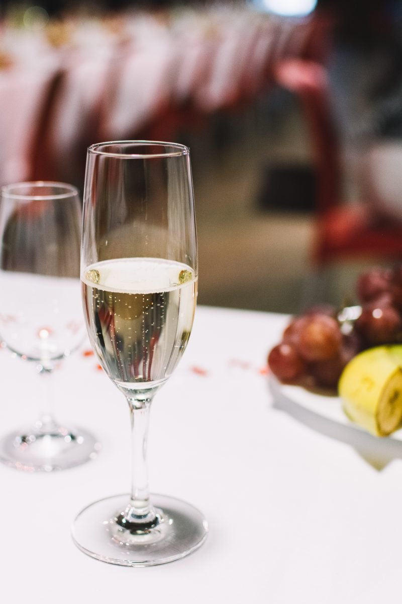 A glass of champagne on a wedding celebration party