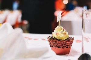 Cute cupcake on a wedding party