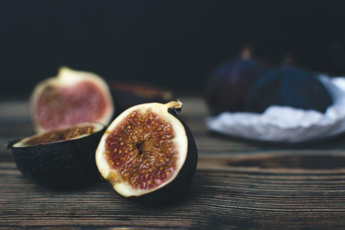Fresh ripe figs cut in half