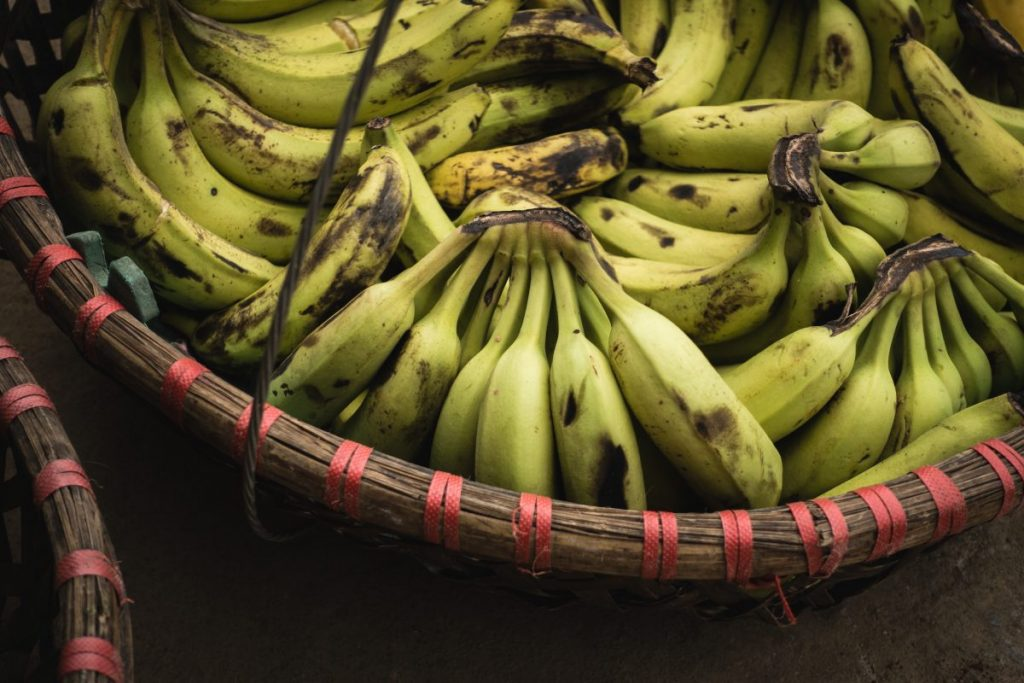 Ripe bananas in a basket