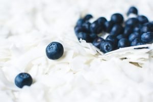 Close up of blueberry on coconut flakes