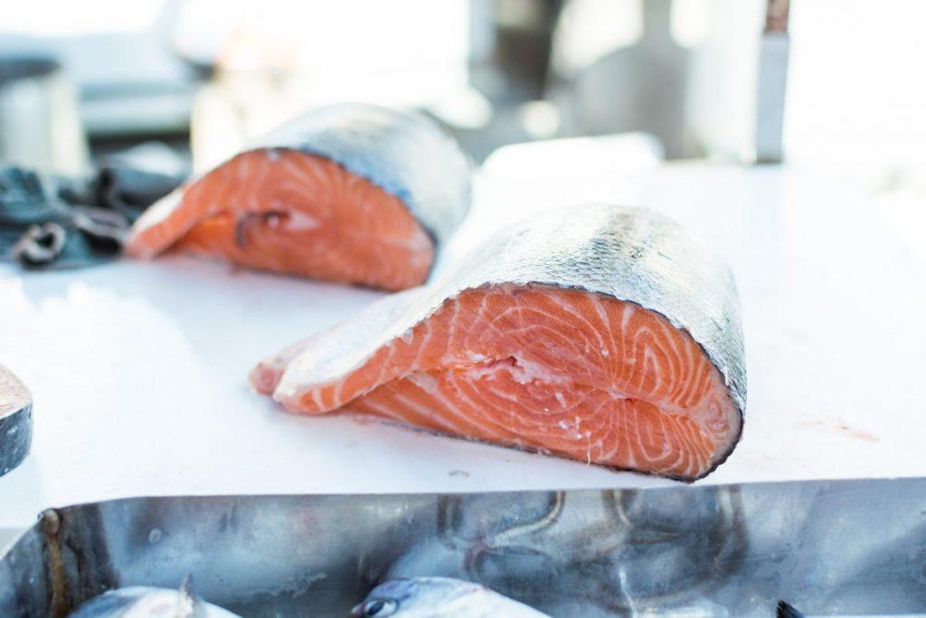 Salmon fish at a market