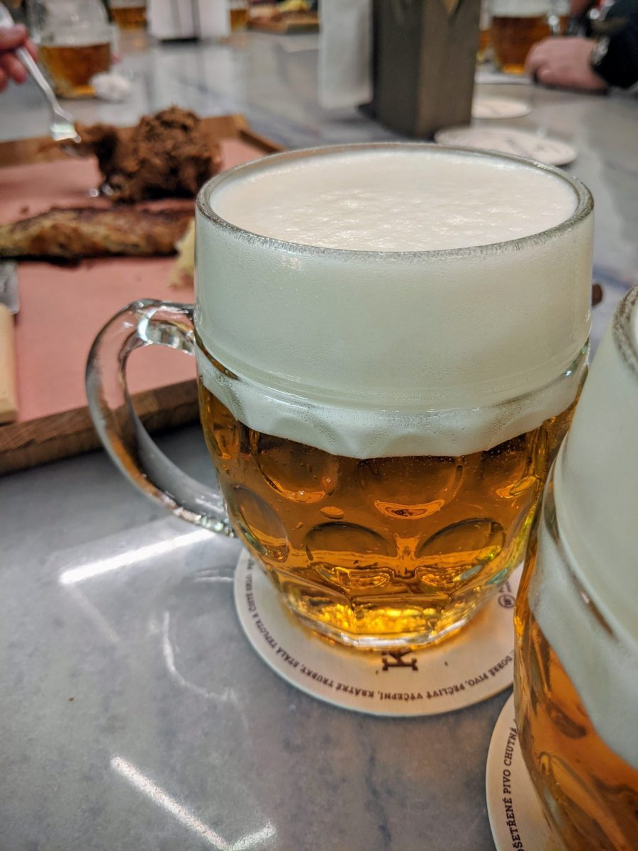 Tapped pilsner beer with a proper foam