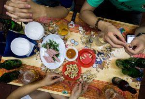 In a pub with friends in Vietnam