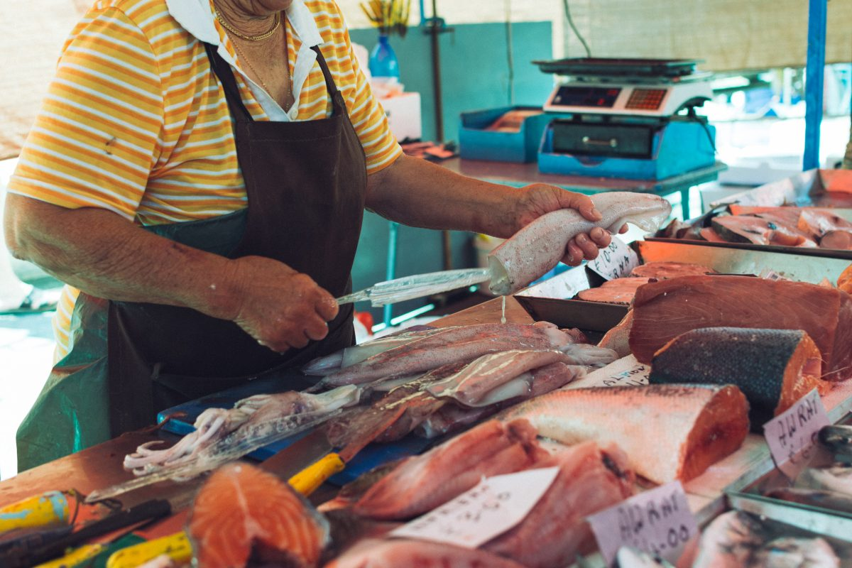 Squid cutting at fish market