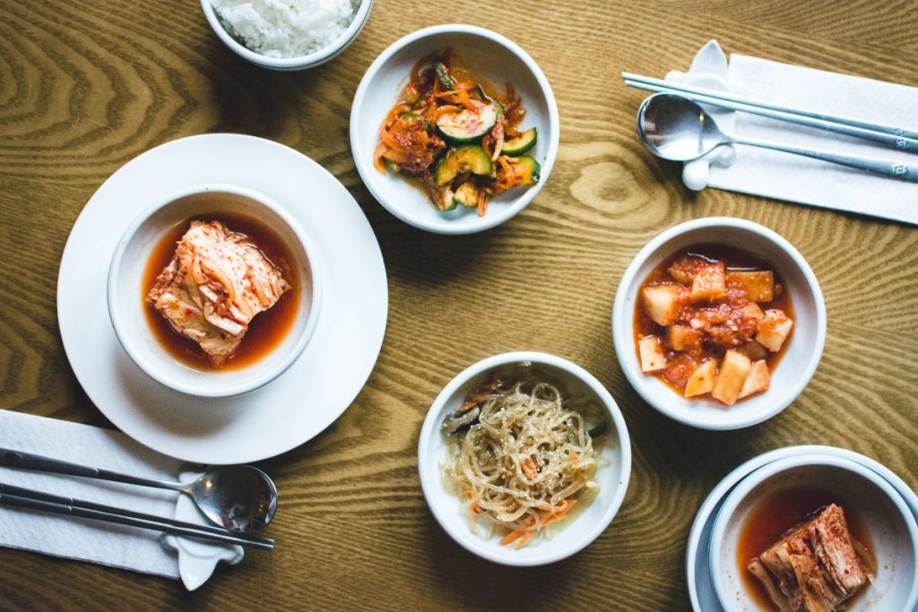Traditional Korean food in a restaurant