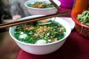 Vietnamese soup with chicken balls