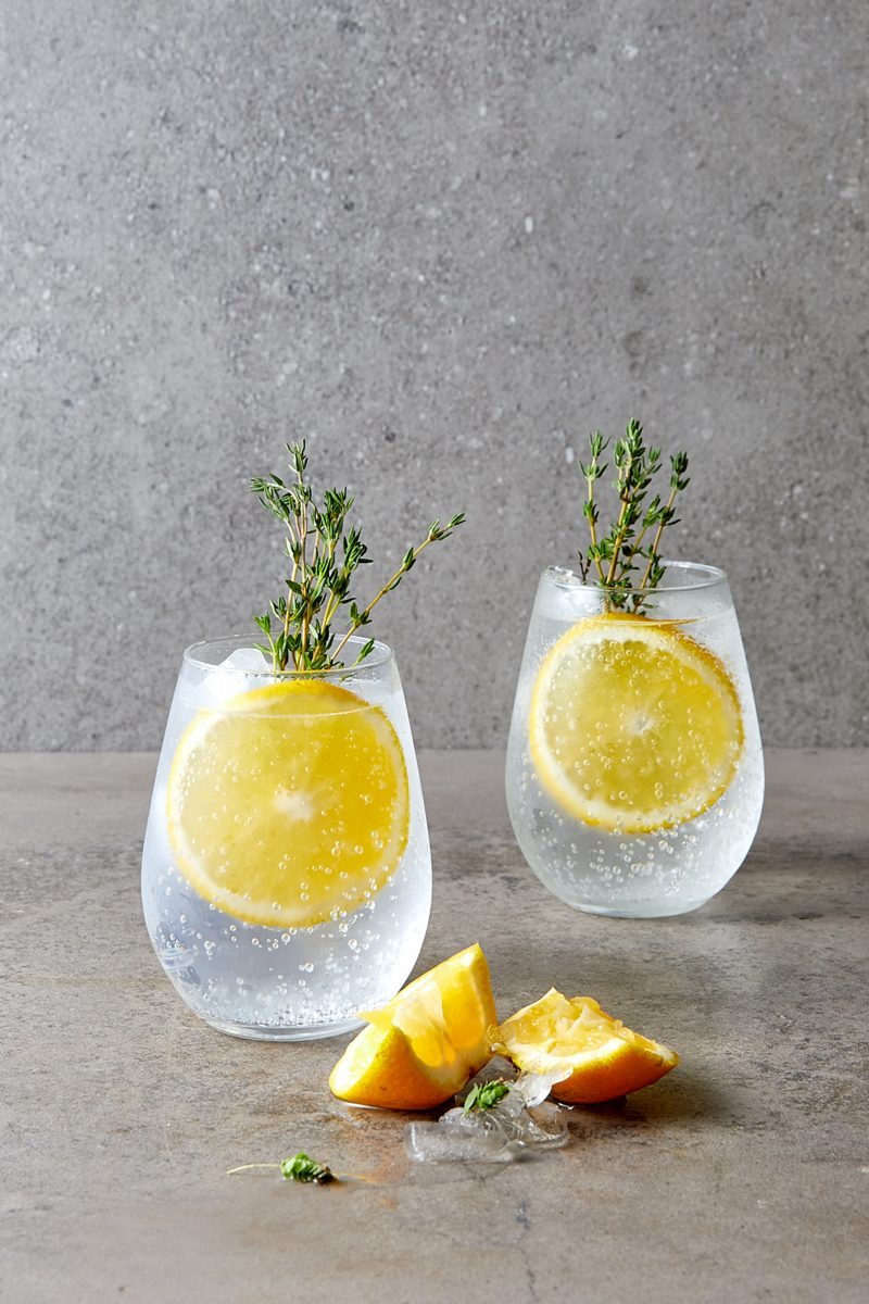 Gin and Tonic Cocktail with Orange and Thyme