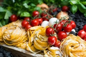 Pasta, tomatoes and other Italian ingredients