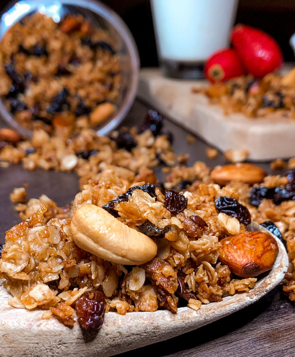 Honey granola with nuts detail