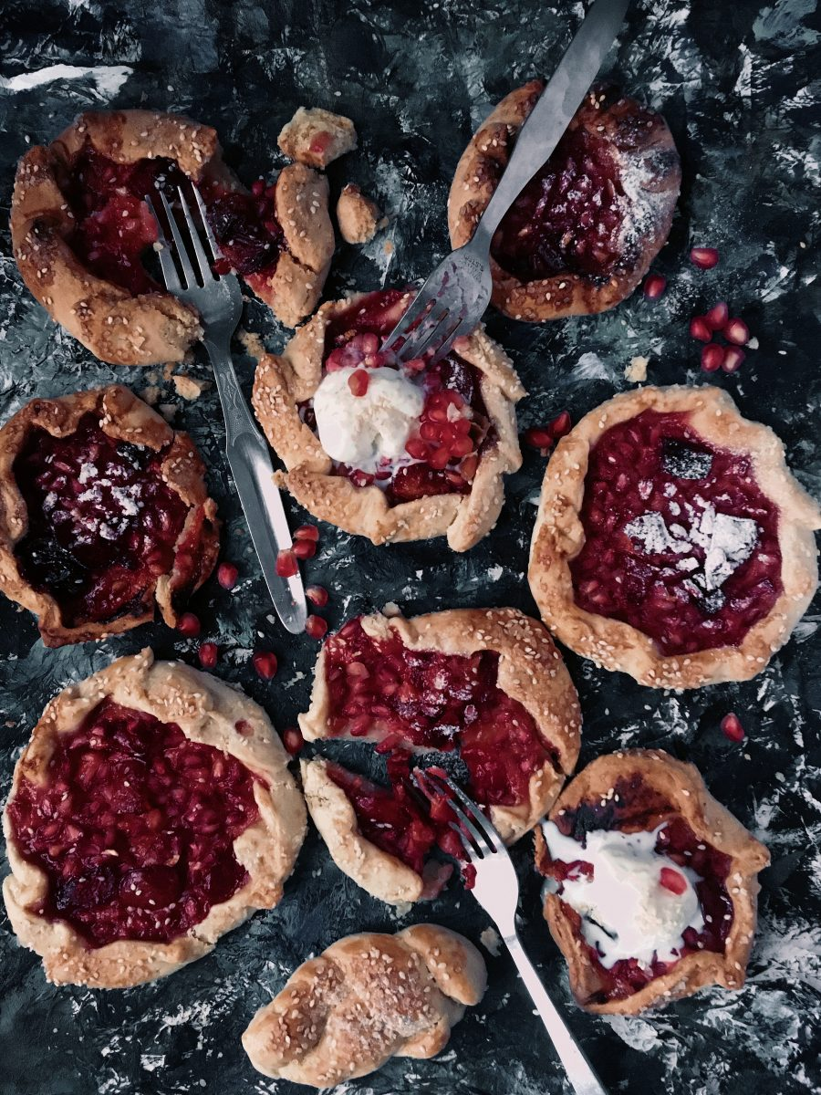 Mini plum pomegranate galettes